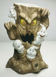 Casper The Friendly Ghost Scary Tree Porcelain Tea Light Candle Holder 1986