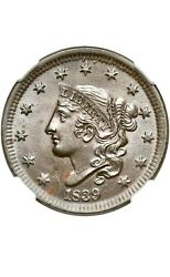 1839 Large Cent Head Of 38 - Ngc Ms64 Bn