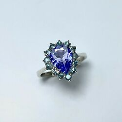 Natural Tanzanite Blue 925 Sterling Silver / 14k 18k 585 750 Gold Ring All Sizes