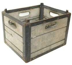 Antique Baxter's Dairy Stackable Wood And Metal Milk Crate Bottle Box