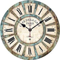 Big Numerals Wall ClocksVintage Rustic Country Wooden Silent Non Ticki
