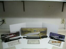 Gil Hibben Old West Bowie Damascus Steel 3 Gil Hibben Knife Lot With Coa's
