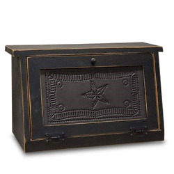 Rustic Farmhouse Solid Wood And Tin Breadbox With Star Punch Design. Vintage Is