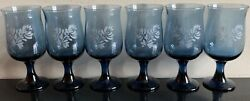 Set Of 6 Pfaltzgraff Blue Etched Yorktowne Wine Water Glasses Signed