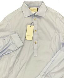700 Baby Blue Cotton Three Front Buttons Shirt Size Xxxl Made In Italy