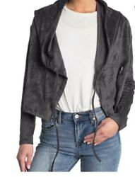 Blanknyc Wildest Dreams Charcoal Faux Suede Hoodie Jacket Size Small