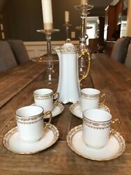 Haviland And Co Limoges Meyser China Glass Co Chocolate Pot W/lid And 4 Cups/saucers