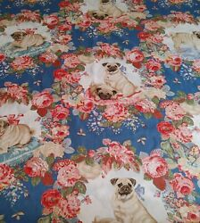 Lee Jofa Pugs And Petals Linen Fabric Rare Discontinued Printed In England