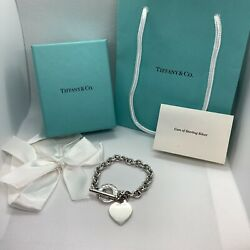 Authentic And Co Heart Tag Toggle Charm Bracelet 925 Sterling Silver 7.75