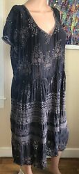 Xl Charcoal Gray Embroidered Eyelet Johnny Was Extra Large Bohemian Dress Euc