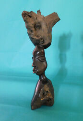 11 Hand Carved African Zambia Woman Ebony Or Iron Wood Sculpture Statue Bust