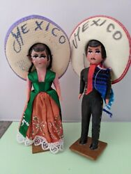Vintage Pair Of Mexican Souvenir Dolls On Stands - Paper Mache And Plastic 2 B24