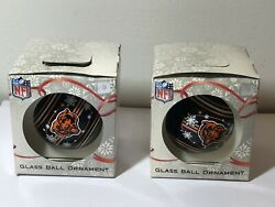 2 Chicago Bears Nfl Christmas Ball Ornament Sports Collector Series