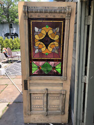 Antique Stripped Stained Glass Victorian Door. 32x79 1/2