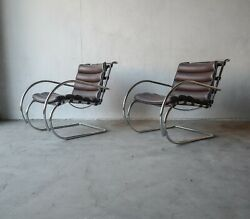 Vintage Leather And Chrome Knoll Mr Lounge Arm Chairs