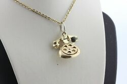 Vintage 14k Yellow Gold Movable Rotary Dial Old Style Telephone Charm Pendant