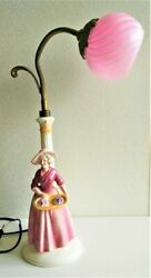 Vintage 20th Original Germany Hertwig And Co Table Lamp Porcelain Figurine 22cm