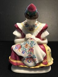 Antique Herend Hungarian Porcelain Sewing Lady Figurine. Signed By Artist.
