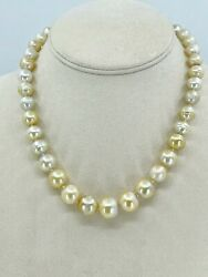 Baroque Gold South Sea Pearl Necklace Graduated 14k Yellow Gold Ringed