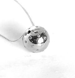 1.30ct Vs1 Diamonds On 18k White Gold Ball On 14k Gold Chain Necklace