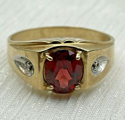 Menand039s 10k Gold Vintage Oval Red Stone And Diamond Ring 4.2 Grams Size 11.5 21-1267