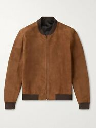 The Row Curt Suede Bomber Jacket Cashmere/silk, It 50/us 40
