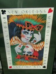 Rare Andrea Mistretta Poster Print 1988 New Orleans Mardi Gras King And Queen Mint