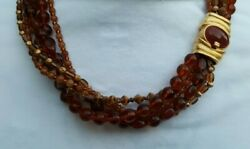Vintage Costume Gold Tone Clasps Amber Glass Multi Strand Necklace 19