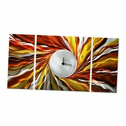 Hands Of Time Wall Decor - Abstract Clock In 24 X 49 A Multipurpose Orange