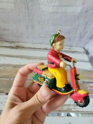 Moped Boy Scooter Ornament Vintage Xmas Holiday Tree