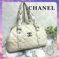 Lady Blade Quilted Mini Boston Ivory Silver Hardware Lamb Skin