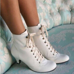 Women Ankle Boots Low Kitten Heel Lace Up Faux Leather Shoes Party Victorian