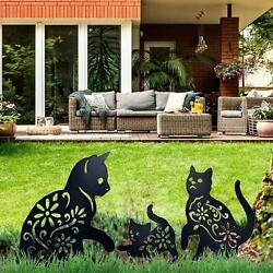 Life Size Metal Garden Art Cats Statue Stakes Outdoor Yard Decor Ornaments