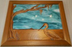 Artwork Images In Wood And Glass Jerry Dvorak Beach House And Bird 17.5 X 21.75