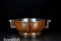 11 Exquisite Old Qing Dynasty China Antique Hetian Jade Natural Double Ear Bowl