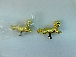 2 Vintage Metal Brass Baby Gold Tone Trophy Toppers Nos