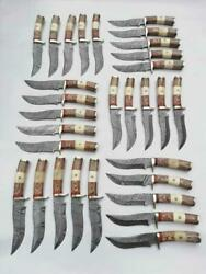 Lot Of 100 Handmade 10 Damascus Steel Bone And Color Wood Handle Knives