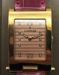 Corum Ladies 18kt Y Gold Watch Travel Option In Back Tank Linear Classic Unique