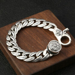 Retro Sterling Silver Menand039s Buddhist Six Character Mantra Turn Bracelet