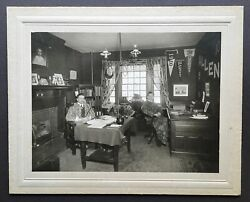 Antique 1910 Photograph Harvard Dorm Room With Students Wearing Smoking Jackets