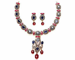 Victorian Inspired 7.59ct Rose Cut Diamond Silver Colorful Necklace Set G135