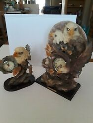 Two Clocks One is a small Bald Eagle Other is Three Eagles Pendulum Clock