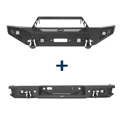 Fit 09-14 Ford F-150 Textured Steel Front + Rear Bumpers Combo W/ Led Lights