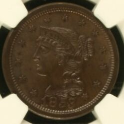 💥1853 Braided Hair Large Cent Ngc Ms 65 Bn Rare This Nice💥