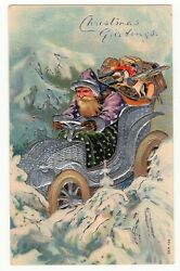 Christmas Postcard Purple Suited Santa Clause, Silver Car - Green Blanket - Toys