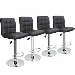 4 Pack Adjustable Bar Stools Pu Leather Modern Dinning Chair With Back Indoor