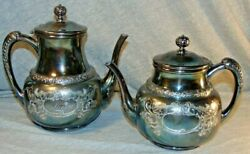 Antique Acme Silver Plate Company Quadruple Plate Teapots Lot Of 2 Engraved Mary