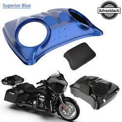 Superior Blue Dual 8and039and039 Speaker Lids For Advanblack/harley Chopped Tour Pak Pack