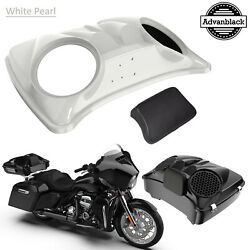 Stone Washed White Pearl Dual 8and039and039 Speaker Lids For Advanblack/harley Tour Pack