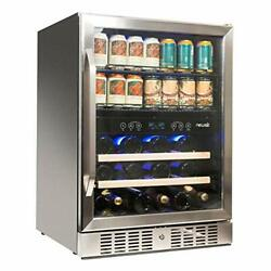 """Newair 24"""" Wine And Beverage Refrigerator Cooler 20 Bottle And 70 Can Capacit..."""
